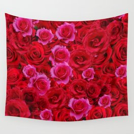 NATURE ART OF BED OF RED & PINK ROSE FLOWERS Wall Tapestry