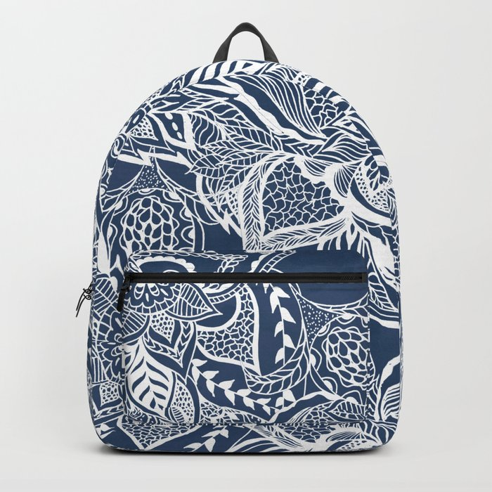 Modern navy blue peony white hand drawn floral watercolor pattern Backpack