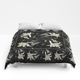 Black and White Lilies Comforters