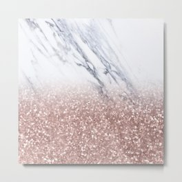 Rose Gold Glitter Marble Metal Print