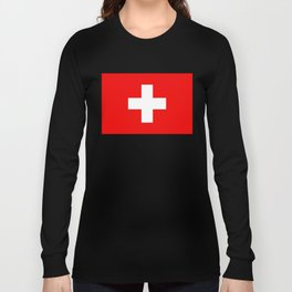 Flag of Switzerland - Authentic (High Quality Image) Long Sleeve T-shirt