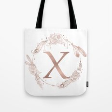 Letter X Rose Gold Pink Initial Monogram Tote Bag
