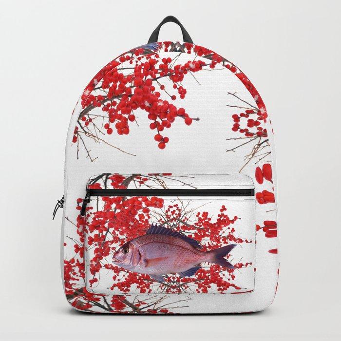 Red Berries Fish Backpack