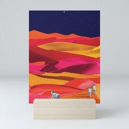 Children Play on Sunset Colored Dunes Mini Art Print