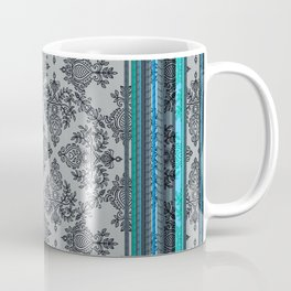Teal, Aqua & Grey Vintage Bohemian Wallpaper Stripes Coffee Mug