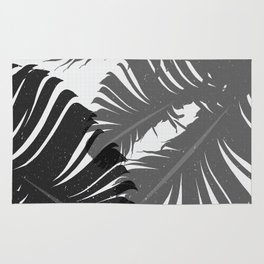 Tropical Leaf Silhouette in Gray Palette Rug