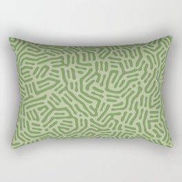 Army Green Abstract Lines Rectangular Pillow