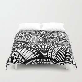 Black Tropical Ethnic Print Duvet Cover