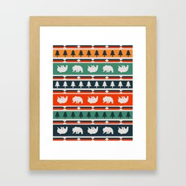 Winter bears and trees Framed Art Print