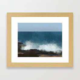breaking waves Framed Art Print