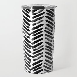 Simple black and white handrawn chevron - horizontal Travel Mug