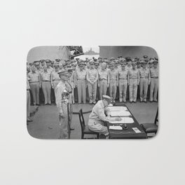 General MacArthur Signing The Japanese Surrender Bath Mat