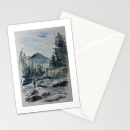 Fly Fishing in a Watercolor Stationery Cards