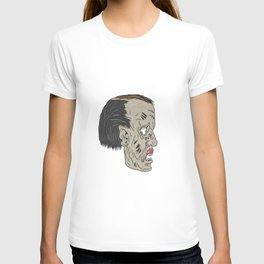 Zombie Head Side Drawing T-shirt
