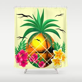 Pineapple Tropical Sunset, Palm Tree and Flowers Shower Curtain