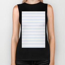 Narrow Horizontal Stripes - White and Pastel Blue Biker Tank
