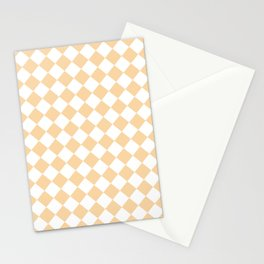 Diamonds - White and Sunset Orange Stationery Cards
