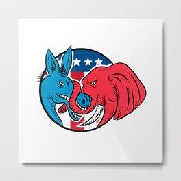 Donkey Biting Elephant Trunk American Flag Drawing Metal Print