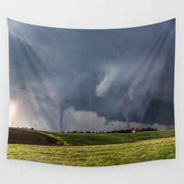 Twins - Two Tornadoes Touch Down Near Dodge City Kansas Wall Tapestry