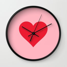 Red Heart on Pink Wall Clock