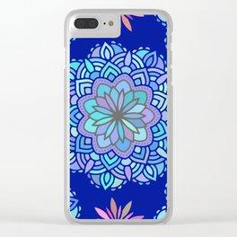 Heart mandala Pattern on Dark Blue Background Clear iPhone Case