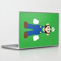 luigi Laptop & iPad Skins featuring Luigi - Minimalist - Nintendo by Adrian Mentus