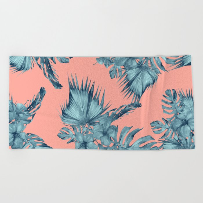 Dreaming of Hawaii Teal Blue on Coral Pink Beach Towel