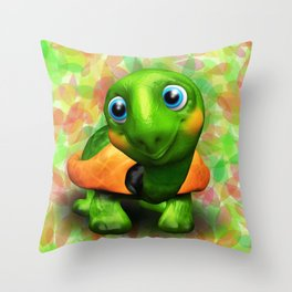 Green Turtle Baby 3D Throw Pillow