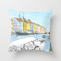 denmark Throw Pillows featuring Denmark - Copenhagen by World Sketching Tour - Luís Simões