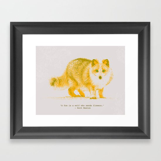 A Fox is a Wolf Who Sends Flowers Framed Art Print