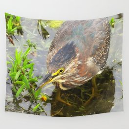Young Green Heron Wall Tapestry