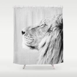 Lion Portrait - Black & White Shower Curtain