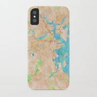 boston map iPhone & iPod Cases featuring Boston region watercolor map by Cityette