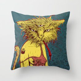 Third eye cat Throw Pillow