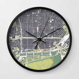 Buenos aires city map engraving Wall Clock
