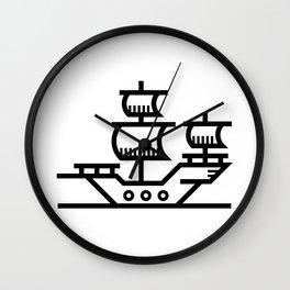 Pirate Ship Boat Icon Wall Clock