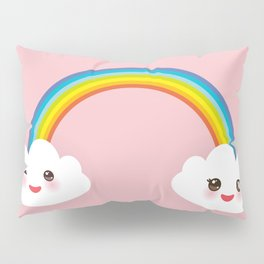 Kawaii funny white clouds, muzzle with pink cheeks and winking eyes, rainbow on light pink Pillow Sham