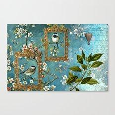 Blue, Birds, Balloon and Botanics Canvas Print