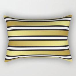 Luxe Gold Metallic and Black Stripes Pattern Rectangular Pillow