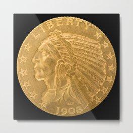 US Indian Head Dollar Metal Print