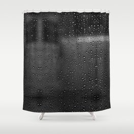Black and White Rain Drops; Abstract Shower Curtain