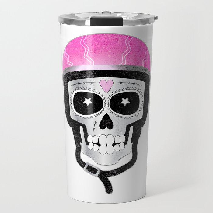 Day of the Dead Biker Skull Travel Mug