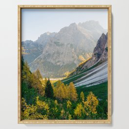 Sunrise in Dolomites mountains in autumn Serving Tray