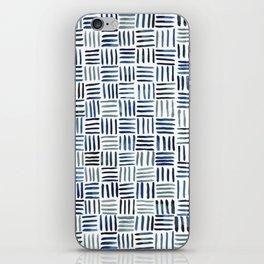 Indigo Crosshatch Pattern iPhone Skin