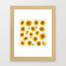 Sunflowers Everywhere - Yellow Framed Art Print