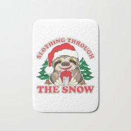 Cute Slothing Through the Snow Christmas Sloth Bath Mat