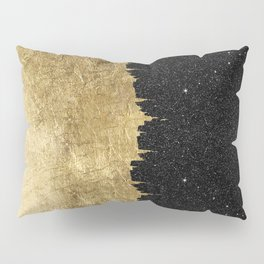 Faux Gold & Black Starry Night Brushstrokes Pillow Sham