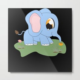 Baby Trunk Elephant Carton Animal Motif Metal Print