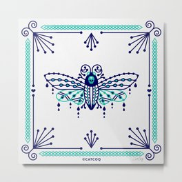 Death's Head Hawkmoth – Navy & Turquoise Palette Metal Print