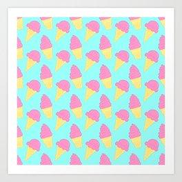 Pink Ice Cream on Blue Art Print